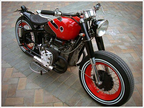 "4444 Design's ""Red/Black"" ChangJiang - Pipeburn - Purveyors of Classic Motorcycles, Cafe Racers & Custom motorbikes"