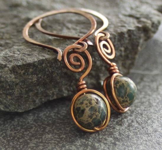 Wrapped swirls with round moss green impression jasper solid copper earrings $22 by Ingo designs on Etsy. Check out that wrap work.