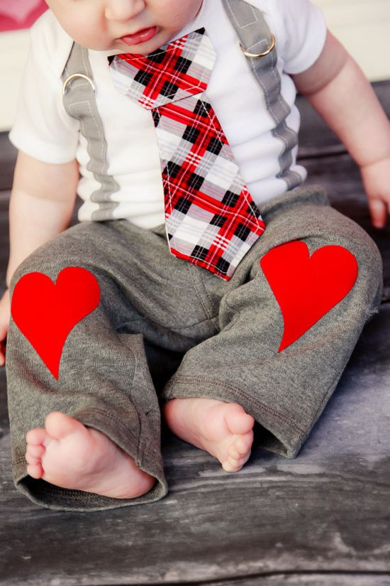 Valentine's Day Baby Boys Heart Knee Patch pants. $17.00, via Etsy.