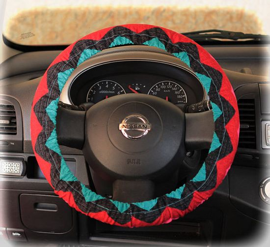 Steering wheel cover for wheel car accessories Zigzag, Chevron print on Etsy, $12.90--  SUPER CUTE!!
