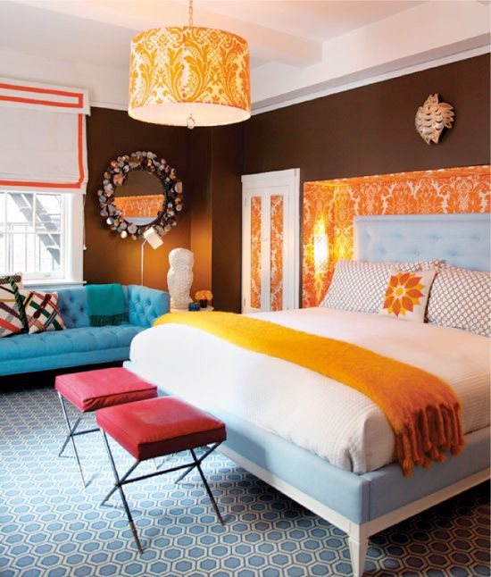 Orange and Brown Bedroom- love this colour combo