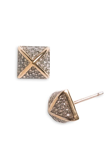 juicy couture 2-tone pyramid stud earrings