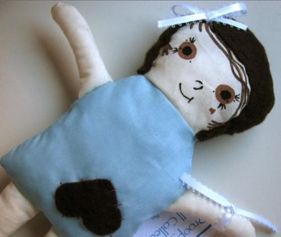 Blue handmade plushie doll