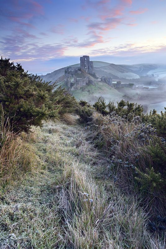 A frosty winter morning at Corfe Castle, Dorset, England