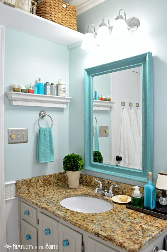 Put a shelf above the door for storage in a small bathroom.