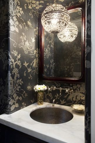 Chinoiserie bathroom walls, marble vanity, pendant light, fun faucet.....has it all!!