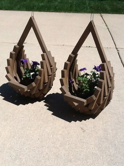 2 Rustic WOOD Vertical Layered Hanging Planter Basket Handmade Crafted