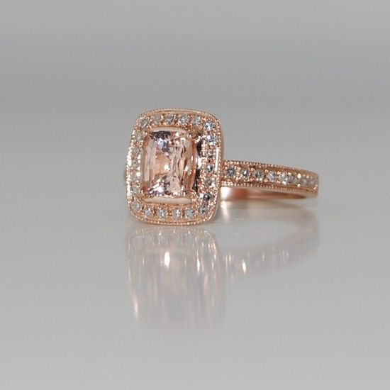 Pave cushion peach champagne sapphire in 14k rose gold diamond ring. bomb.