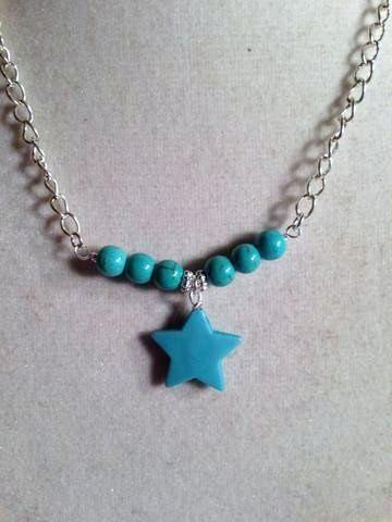 Star Necklace Turquoise Jewelry Gemstone by prettylittlepretties, $14.00