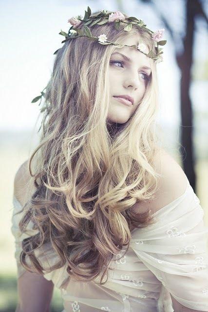 long hair with flower headband