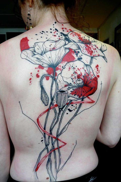 Watercolor splatter poppy flower tattoo. Exactly what I want! ?