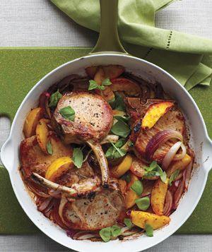 Roast pork chop with peaches