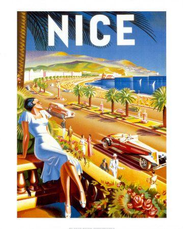 vintage travel poster Nice, France
