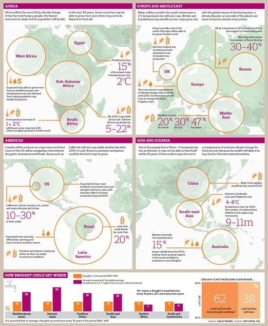 The impact of climate on food supplies around the world.- Infographic
