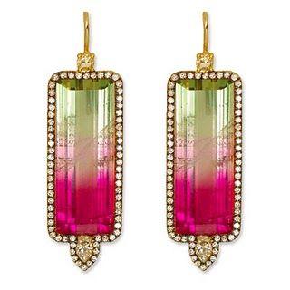 Jemma Wynne earrings: Watermelon Tourmaline, Diamond, and 18K Gold Earrings