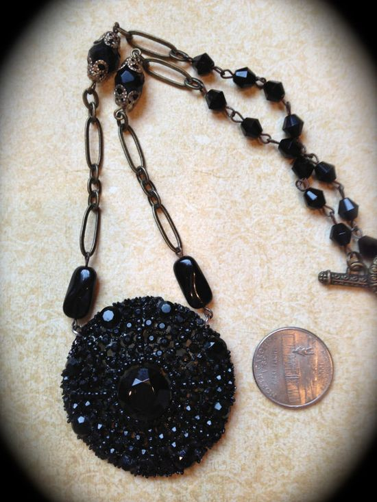 Vintage black rhinestone brooch necklace by JNPVintageJewelry, $165.00
