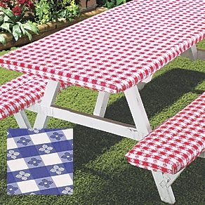 This Picnic Table Cover would be great for picnics at the park!