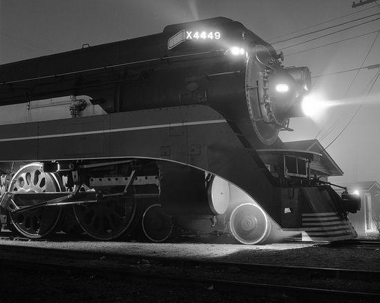 American Freedom Train with Southern Pacific Daylight locomotive # 4449 at night in the Uceta railroad yard in Tampa, Florida, December 1976