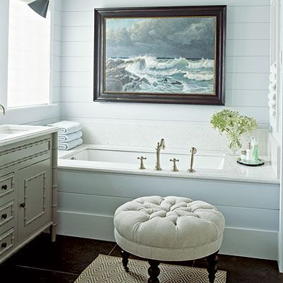 Love the large portrait and the tub