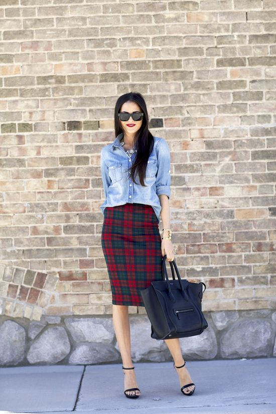 Plaid skirt and chambray.