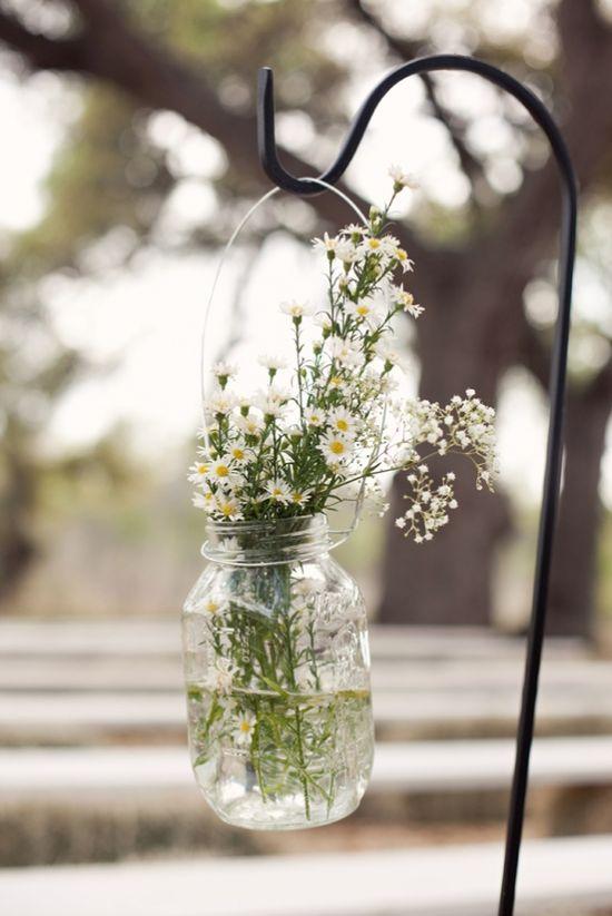 mason jars of flowers to line the aisle #wedding