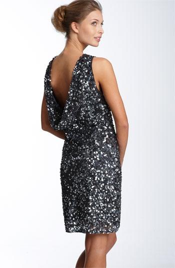 Pisarro Nights Drape Back Paillette Dress