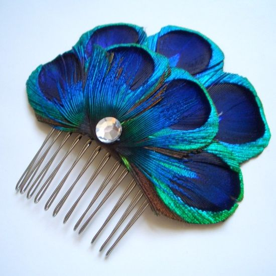 CARLY COMB  Peacock Feather Comb Fascinator  by TheHeadbandShoppe, $30.00