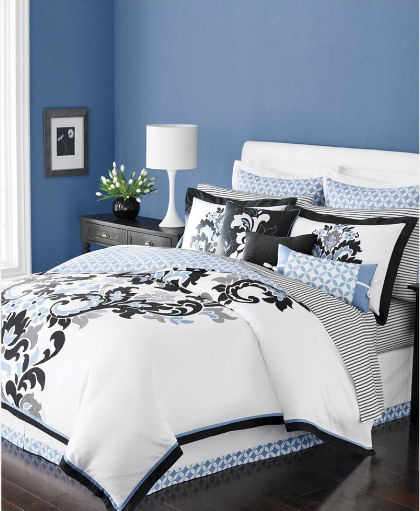 navy n white master bedroom
