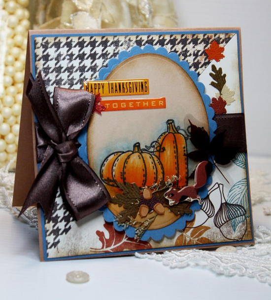 Delightfully fun Thanksgiving Day card. I really like the houndstooth paper and adorable little squirrel. #scrapbooking #cards #card_making #Thanksgiving #homemade #cute