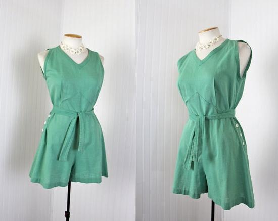 1940s Gym Suit - Vintage 40s Playsuit Romper Shorts S M - Jadeite Green
