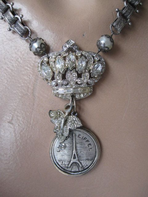 I Dreamed That I Was Queen of France ... vintage paste eiffel tower repurposed necklace