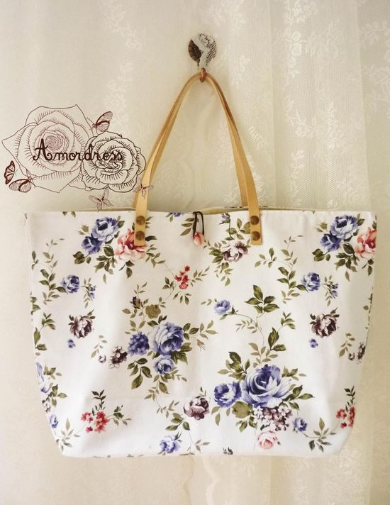Floral Tote Bag Printed Canvas Bag Genuine Leather