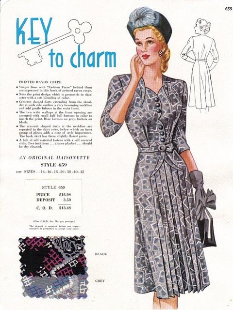 "Maisonette Frocks salesman's sample c.1949 - the ""key to charm"". #vintage #1940s #fashion #fabric"