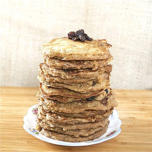 Oatmeal Cookie Pancakes (so yummy it's hard to believe they are healthy!)