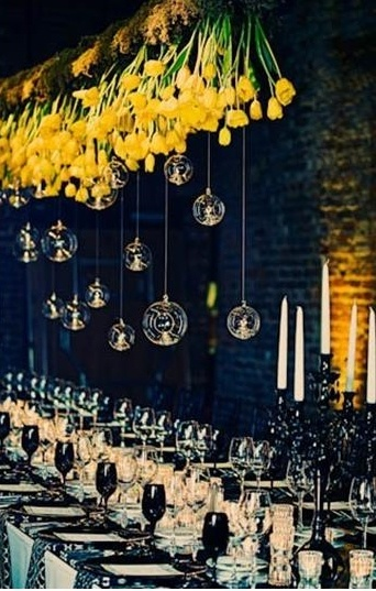 Starry Night Wedding Reception Decorations.  Hanging Flowers and Baubles.  Can Also Use Sunflowers.