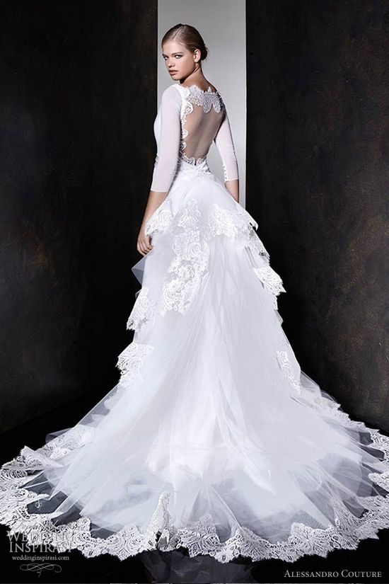 alessandro couture bridal 2013 wedding dress sleeves portrait back