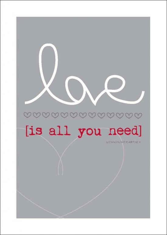 Love is all you need free art printable. Resize for project life filler card.