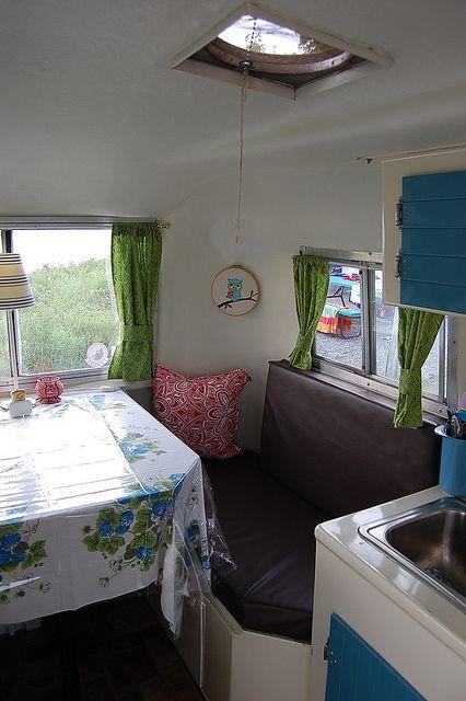 Vintage tablecloth for a vintage travel trailer.