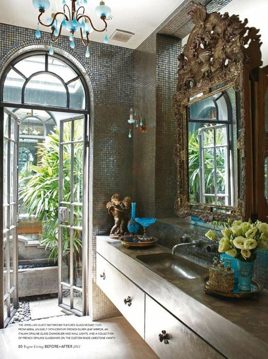 Ornate antique mirror in modern bathroom - Vogue Living #antique #modern #mirror #bathroom