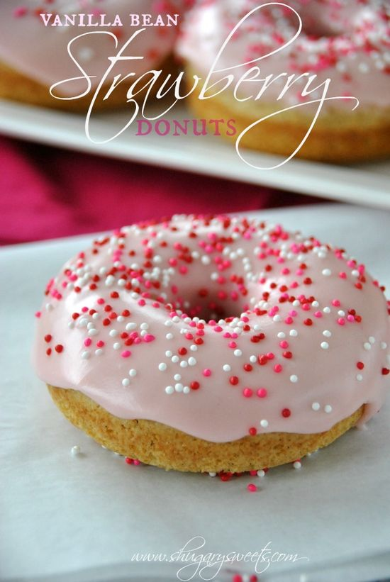 Valentine Breakfast :: Vanilla Bean Strawberry Glazed Donuts: baked donuts that are ready in under 30 minutes