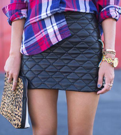 Plaid + leather