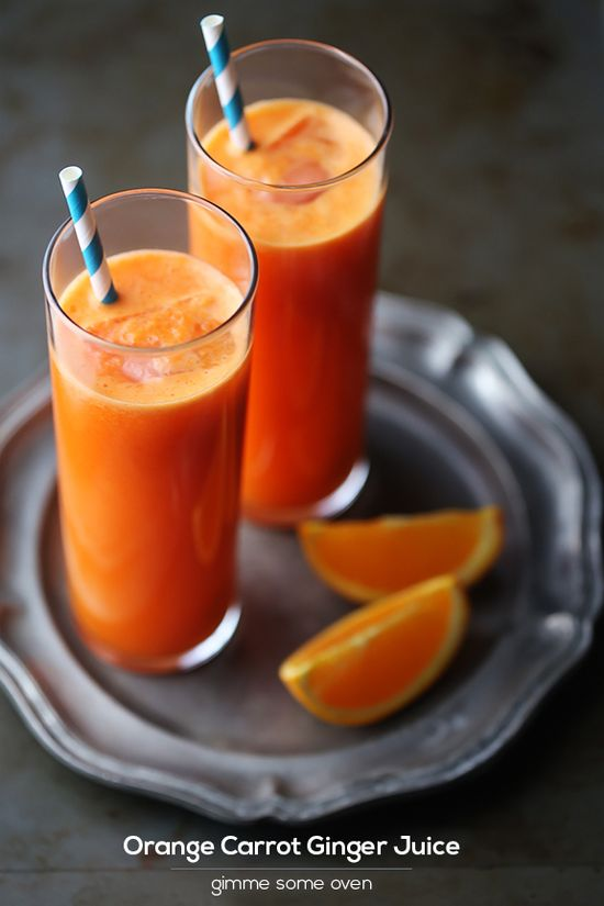 [ Recipe/Inspiration: Orange Carrot Ginger Juice ] made with carrots, naval oranges, and fresh ginger. Directions on branappetit.com via Give Me Some Oven