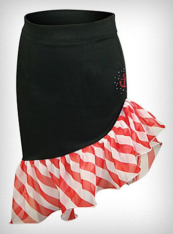 idea for DIY skirt. take an already made thrifted skirt, cut diagonally, & add ruffle.