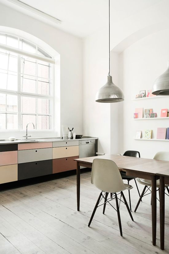 Invite pastel tones and shimmering metallics into your kitchen