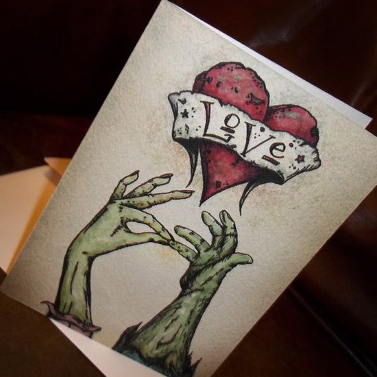 """Zombie Valentine's Day """"The Kiss"""" Love Card"""