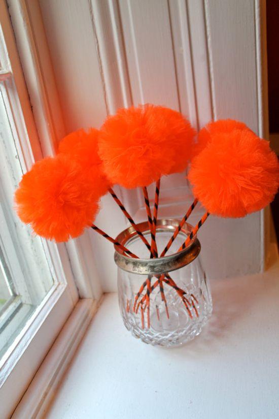 Pumpkin Pom Pom Favors Decoration Fall Halloween by Pretti Mini Party Goods