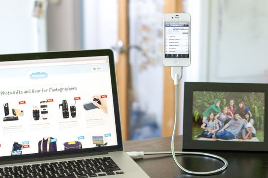 """The Bobine: Super bendy phone cable and tripod in one! Flex it, loop it, take it anywhere to use as a portable tripod or just a very cool desk toy. Available for Apple or Android. Measures 24""""...maybe this would help me keep track of my phone! #Bobine #Tripod #Cable #iPhone #Android #photojojo"""