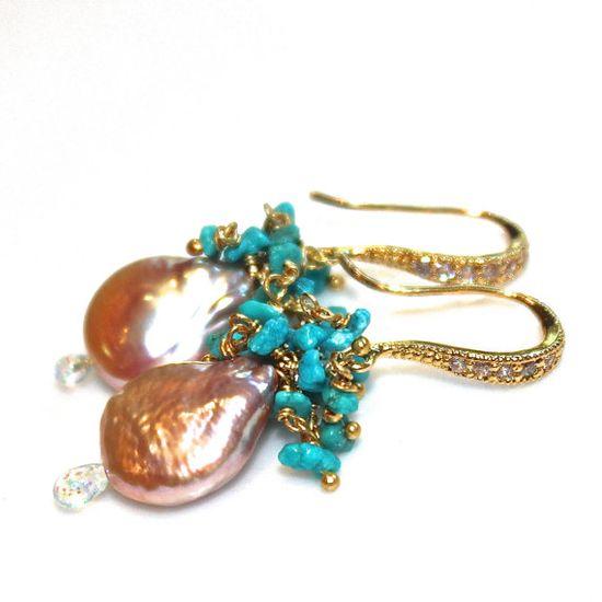 Coin Pearl Earrings Kingman Turquoise Earrings Pearl by FizzCandy #pearl #earrings #jewelry #turquoise #fizzcandy