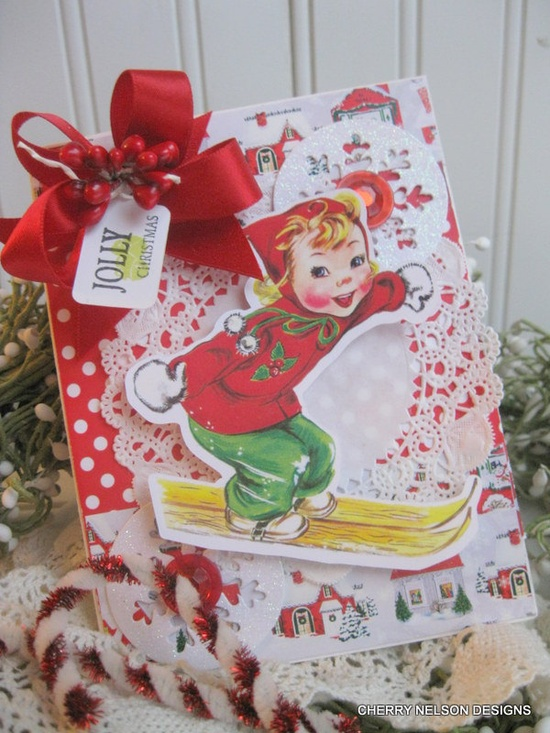 Delightfully cute layered vintage inspired Christmas card. #vintage #Christmas #cards #scrapbooking