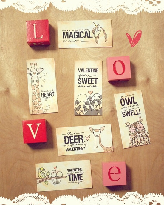 PRINTABLE valentines day cards-6 designs- perfect for school